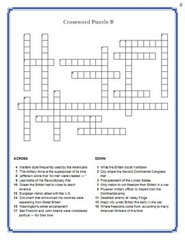 America the Story of US Episode 2 Crossword Puzzle Worksheets