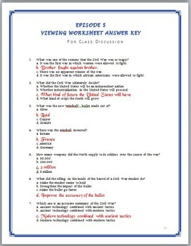 America the Story of US Episode 5 Quiz and Worksheet