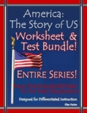 America the Story of US Worksheets and Quizzes: 1-12 BUNDL