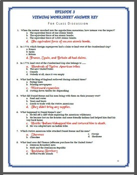 America the Story of US Worksheets and Quizzes: Episode 1-6 BUNDLE