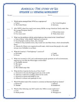 America the Story of US Worksheets and Quizzes: Episode 7-12 BUNDLE
