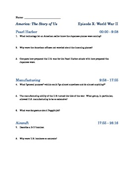 """America the Story of Us - Episode 10: """"WWII"""" Viewing Guide"""
