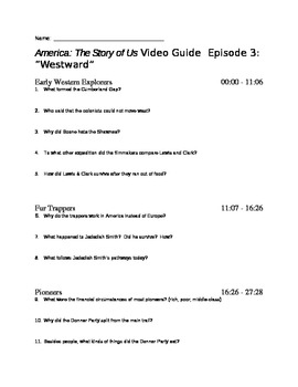 """America the Story of Us - Episode 3: """"Westward"""" Viewing Guide"""