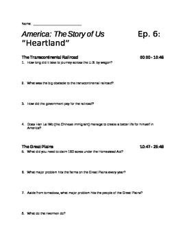 America the Story of Us  Episode 6: quot;Heartlandquot; Viewing Guide  TpT