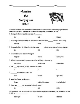 America the Story of Us Rebels Episode 1 Video Questions-Easy Format!