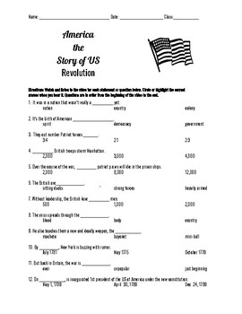 America the Story of Us: Revolution Episode 2 Questions-Revolutionary War