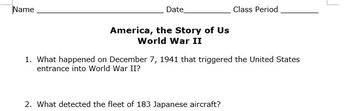 America the Story of Us - World War II (Espisode 10) Student Video Guide