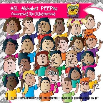 Americal Sign Language (ASL) Alphabet Kids Clipart PEEPles Edition