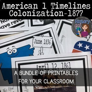 American 1 Printable Timeline Bundle (Colonization - 1877)