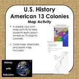 American 13 Colonies Map Activity