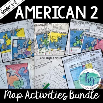 American 2 Map Activities Bundle
