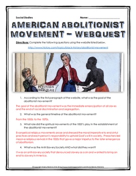 American Abolitionist Movement - Webquest with Key (American History)