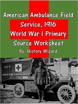 American Ambulance Field Service, 1916 World War I Primary Source Worksheet