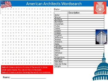 American Architects Wordsearch Puzzle Sheet Activity Keywords Architecture