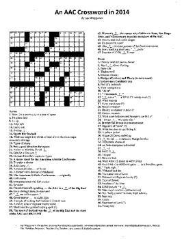 "American Athletic Conference Crossword Puzzle, ""sporting"" vocabulary practice"