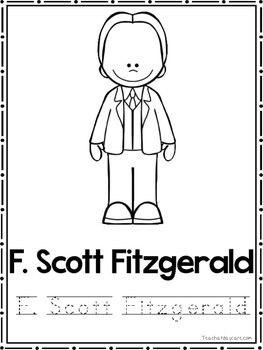 American Authors Coloring Book worksheets.  Preschool-2nd Grade