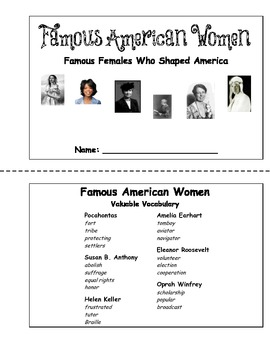 American Biographies - Famous American Women (Unit Booklet)