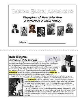 American Biographies - Famous Black Americans (Unit Booklet)