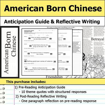 American Born Chinese - Anticipation Guide & Reflection Writing