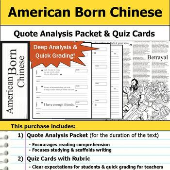 American Born Chinese - Quote Analysis & Reading Quizzes
