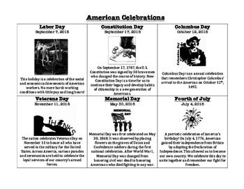 American Celebrations Handout