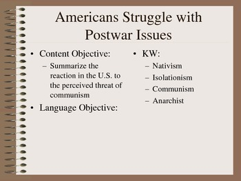 American Challenges after WWI