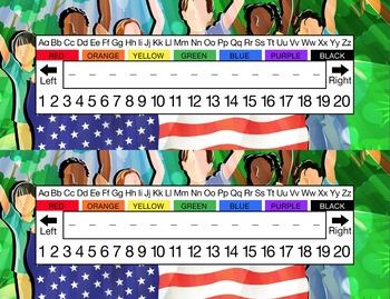 American Flag Multicultural Children Desk Name Tag Plates Set