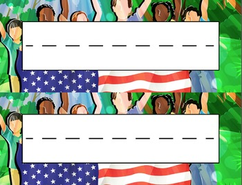 American Flag Multicultural Children Desk Name Tag Plates Set