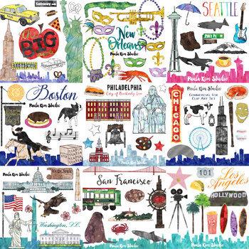 American Cities Watercolor Clip Art GROWING BUNDLE