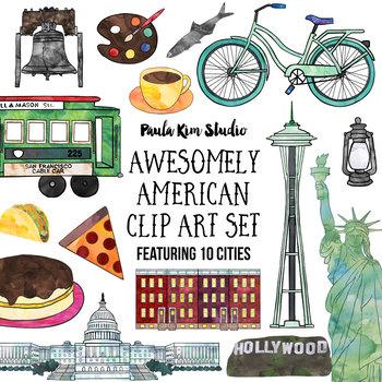 American Cities Watercolor Clip Art