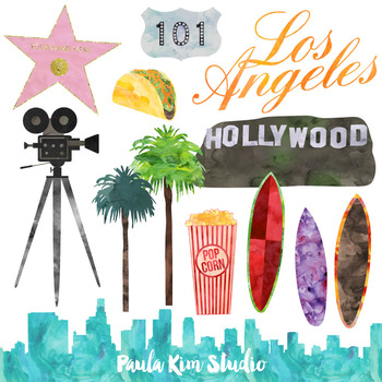 American Cities Watercolor Clipart LA