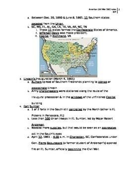 American Civil War 1861 notes (key)