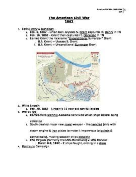 American Civil War 1862 notes (key)