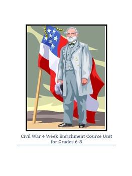 American Civil War 4 Week Enrichment Course Unit for Grades 6-8