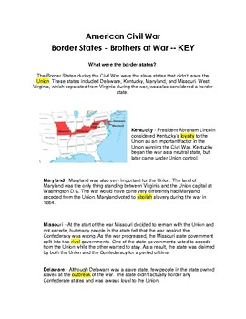 CLOZE Reading Passage ~ American Civil War Borders ~ Brother Against Brother