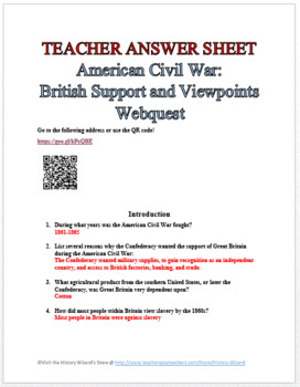 American Civil War: British Support and Viewpoints Webquest