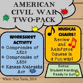 Musical Chairs-American Civil War Causes- Game,Worksheet & Handout