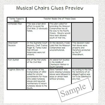 Musical Chairs-American Civil War Causes- Game,Worksheet & Handout