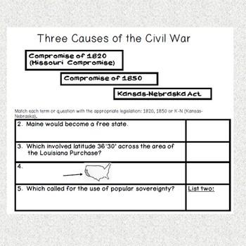 Musical Chairs American Civil War Causes Game Worksheet Handout