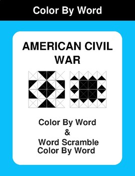 American Civil War - Color By Word & Color By Word Scramble Worksheets
