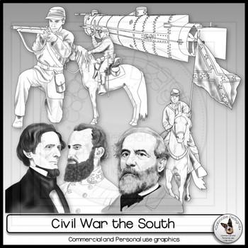 Civil War Clip Art Realistic Confederate Set