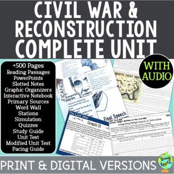 American Civil War Curriculum, US Civil War, Reconstruction Era