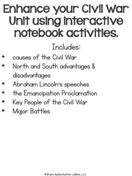 American Civil War Interactive Notebook Activities, US Civil War INB Activities