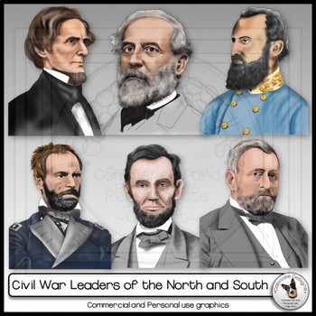 Civil War Clip Art Realistic Leaders of the North and South