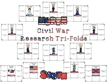 American Civil War Research Tri-Folds and Graphic Organizers