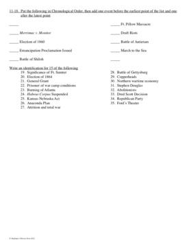 Civil War Test Editable