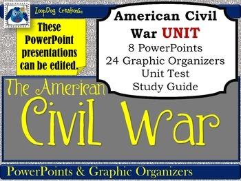 American Civil War UNIT PowerPoints, Graphic Organizers, S