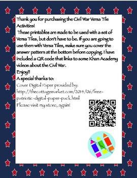 American Civil War Versa Tile Activities