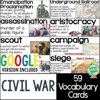 American Civil War Vocabulary Cards, US Civil War Word Wall