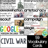 American Civil War Vocabulary Cards, US Civil War Word Wall